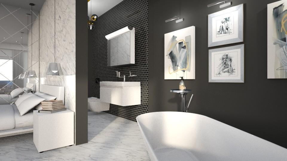 I sanitari e il mobile lavabo devono essere in armonia e coerenti con la vasca da bagno freestanding in bellavista del bagno in camera