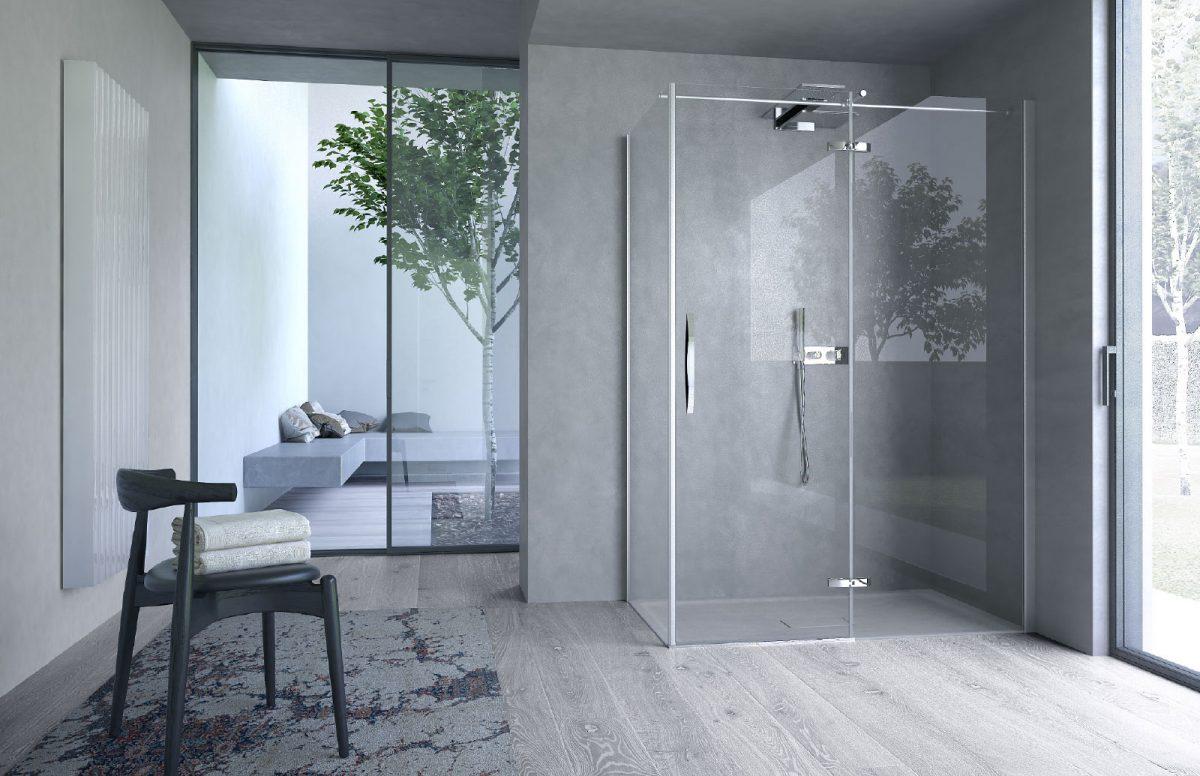Box doccia posizionata all'angolo di due pareti