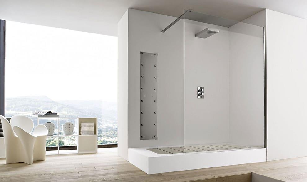 Box doccia di design con pannello fisso